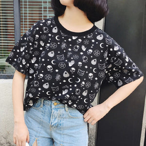 Blackest Gothic Tee Moon Witchcraft Cat Printed Harajuku Short T-Shirt Women Tops Loose Summer Skull T Shirt For Goth Girl-geekbuyig