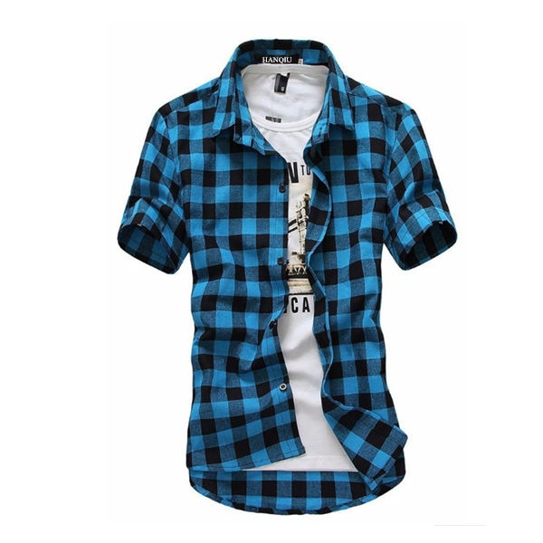 Red And Black Plaid Shirt Men Shirts 2018 New Summer Fashion Chemise Homme Mens Checkered Shirts Short Sleeve Shirt Men Blouse-geekbuyig