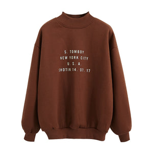 2018 Women'S Harajuku College Wind Letters Printed High Collar Plus Velvet Sweatshirt Female Korean Kawaii Tops For Women-geekbuyig