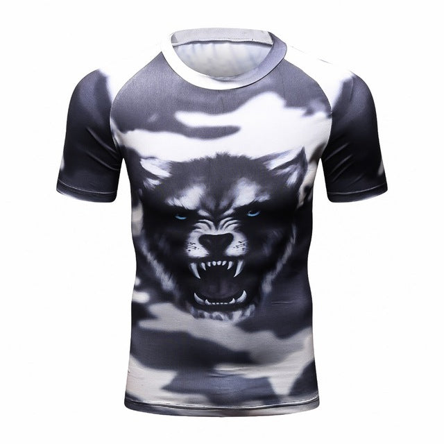 Compression Shirt for Men Rashguard MMA 3D Prints Tshirt Short Sleeve Breathable Quick Dry Workout Bodybuilding Fitness Tops-geekbuyig