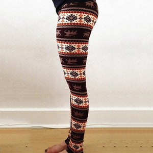 New Brand Women Warm Winter Knit Snowflake Leggings Xmas Stretch Pants Printing Nine Pants-geekbuyig