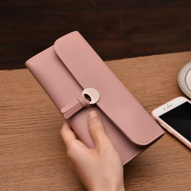 2018 Fashion Long Women Wallets High Quality PU Leather Women's Purse and Wallet Design Lady Party Clutch Female Card Holder-geekbuyig