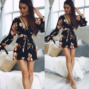 Fashion Women Ladies Summer Long Sleeve V-Neck Floral Jumpsuit Beach Party Cocktail Short Mini Sundress Outfits Playsuit Romper-geekbuyig