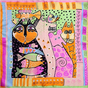 100% Silk Scarf Women Scarf Cat & Fish Neckerchief Scarf Silk Bandana 2018 Foulard Animal Small Square Silk Scarf Luxury Gift-geekbuyig