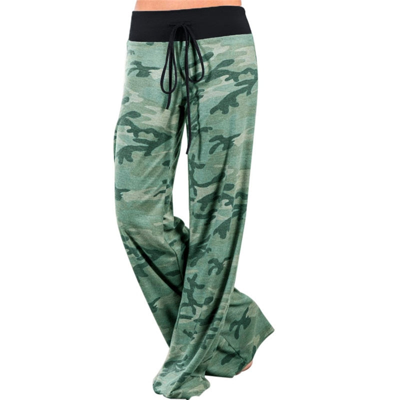 Women Green Camouflage Print Wide Leg Pants Loose Mid Waist Straight Trousers Long Female Trousers Comfortable Casual Bottoms-geekbuyig