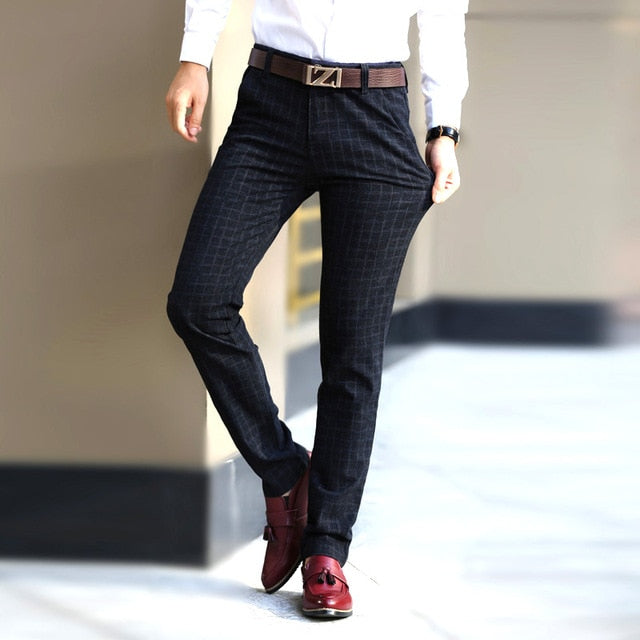 2018 New England plaid pants and dress pants men sanding male trousers men's winter woolen Straight trousers pants-geekbuyig