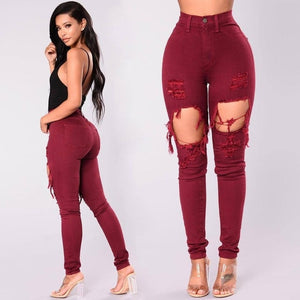 jeans woman 2018 winter high waist jeans Cotton red skinny denim pants slim hole ripped jeans for women design ladies trousers-geekbuyig