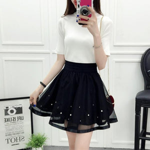 2018 New Spring Summer Women Black Mini Skirt Korean Elastic High Waist Skirt Shorts Sweet Mesh Tulle Umbrella Skirt Falda Tul-geekbuyig
