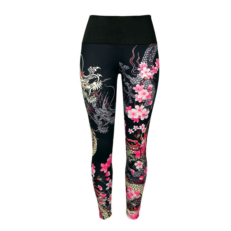 hirigin 2018 Women do exercise Pants chinese dragon flower printed Leggings Stretchy Fitness Clothes ladies female Pants women-geekbuyig