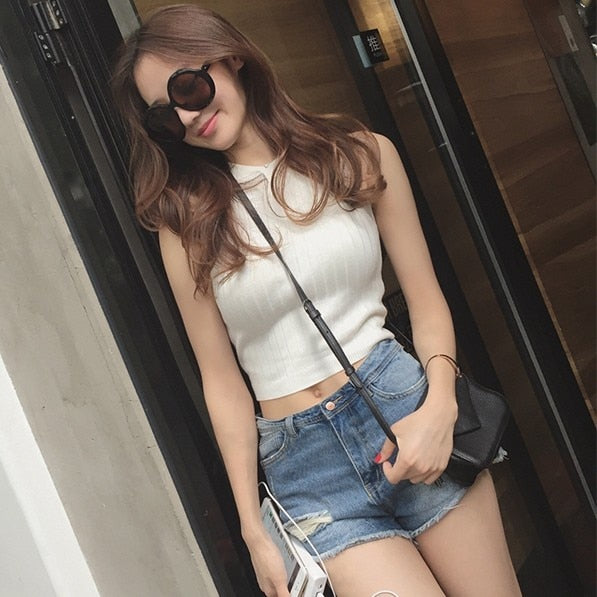 Summer Women Slim Knitting Cropped Tank Tops Female Knitted Camis Sleeveless Solid T shirts Crop Tops-geekbuyig