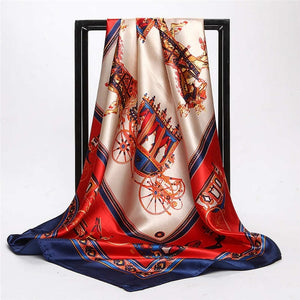 2018 Spring Red Blue Hijab Shawl Scarf Women Satin Fashion Euro Carriage Printed Female Square Scarves Head Wraps 90x90cm-geekbuyig