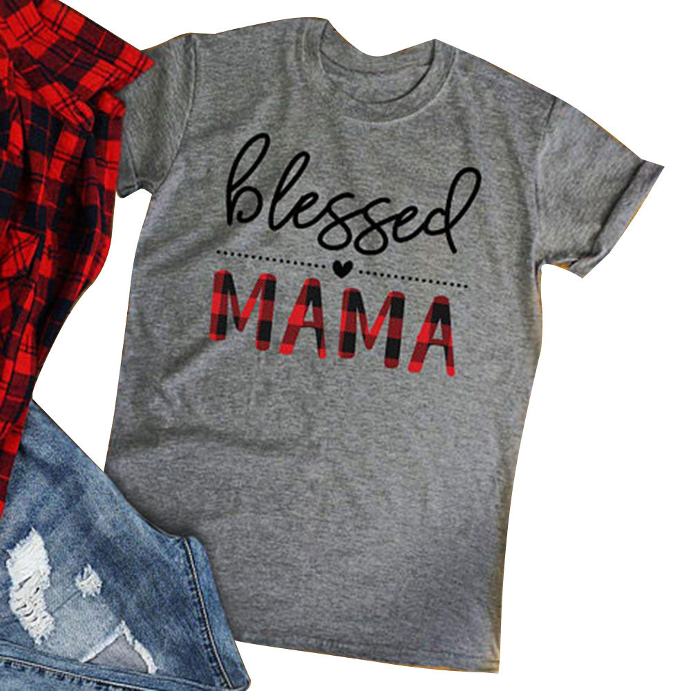 Blessed Mama Letter Print Gray T-Shirt Women Clothes 2018 Summer Short Sleeve T shirt Casual Loose Harajuku Tee Basic Tops-geekbuyig