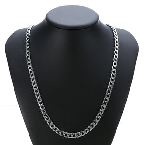 "Unisex Chain Link Necklace Shellhard Mens Womens 24"" 7mm Silver Gold Color Filled Cuban Necklace DIY Chain Fashion Jewelry-geekbuyig"