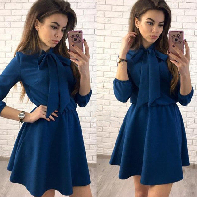 Women Fashion Bow Causal Party Dress Wrist Sleeve A-line O neck Solid Vintage Dress 2018 Spring Plus Size Women Mini Dresses-geekbuyig