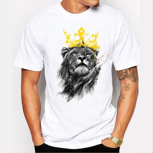 men's lastest 2017 fashion short sleeve king of lion printed t-shirt funny tee shirts Hipster O-neck cool tops-geekbuyig