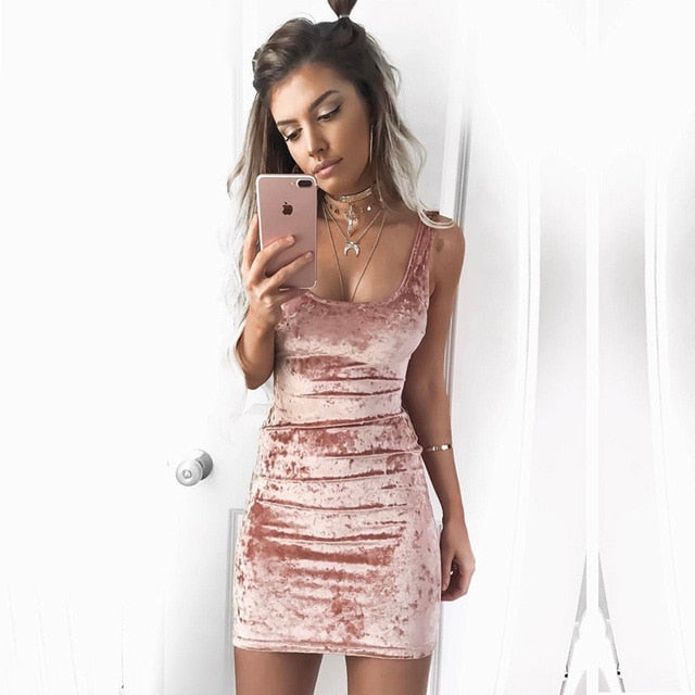 Spring Summer Velvet Vest Dress Sexy Women Square Collar Backless Dress Sleeveless Pink Bodycon Casual Dresses-geekbuyig