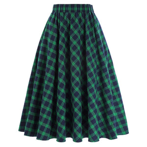 Autumn Winter High Waist Pleated Skirts Womens Elegant Grid Pattern Vintage Scottish Style Skater Midi Skirts Female Plaid Skirt-geekbuyig