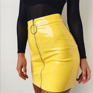 2018 New Women Autumn Winter Tight Suede Skirt Fashion High Waist Zippers Front Pockets Mini Pencil Skirt For Women-geekbuyig