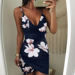 Sexy Womens Sleeveless Dress Floral Strappy V Neck Vestido 2018 Bodycon Evening Party Clubwear Short Mini Dress Fashion-geekbuyig