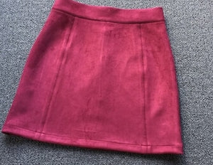 2018 new autumn and winter Vintage Art empire Suede a-line solid pink black Light tan Burgundy color woman sweet Leisure skirt-geekbuyig