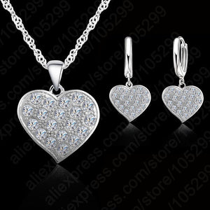 Jemmin Fine 925 Sterling Silver Heart Diamond Bridal Wedding Jewelry Set For Women Pendant Necklace Earring Set Bijoux-geekbuyig
