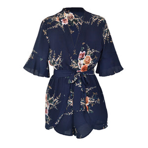 Casual Print Flower Playsuit Women Jumpsuits For Women 2018 New V Neck Ruffles Short Sleeve Loose Shorts Rompers Womens Jumpsuit-geekbuyig
