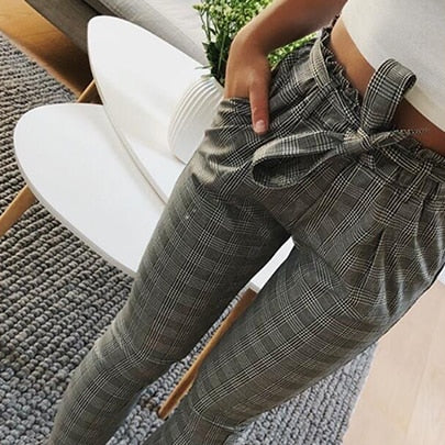 New Plaid high waist harem pants Women summer style ankle-length vintagel pants female office lady white striped trousers-geekbuyig