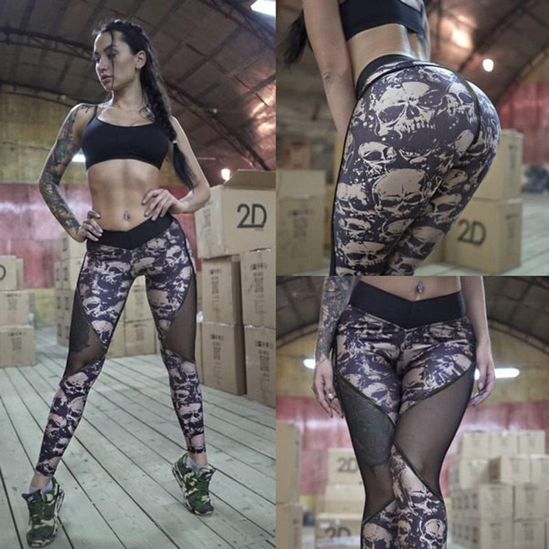 NORMOV Summer Mesh Skull Leggings Women Push Up Workout Printed Legging Femme Casual Patchwork Leggings 2 Color S-XL-geekbuyig