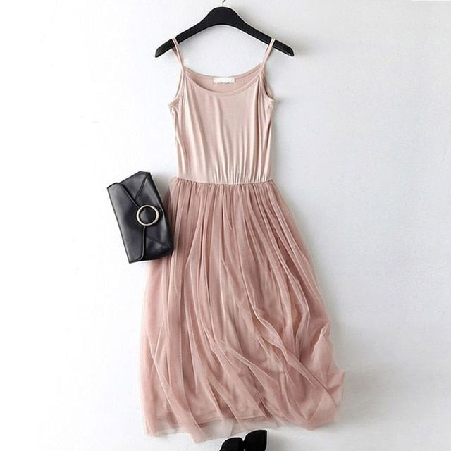 2018 New Cotton Spaghetti strap Lace Summer Dress Women Sleeveless Patchwork Casual Spring Dresses LJ0011-geekbuyig