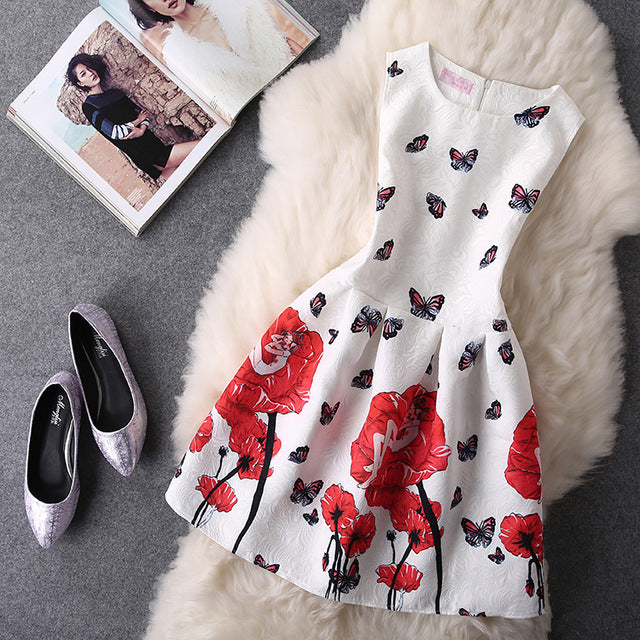 2018 Women Summer Bodycon Vest Dress Vintage Printed Sexy Party Vestido De Festa Female Clothing A Line Black Casual Dresses-geekbuyig