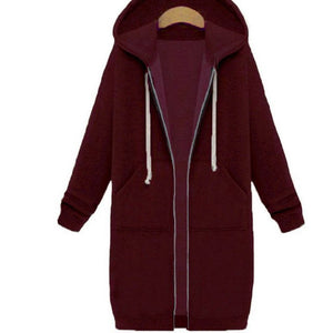 2017 Autumn Winter Women Hoodies Sweatshirt Casual Loose Long Coat Pockets Zip Up Outerwear Hooded Jacket Tops Plus Size-geekbuyig