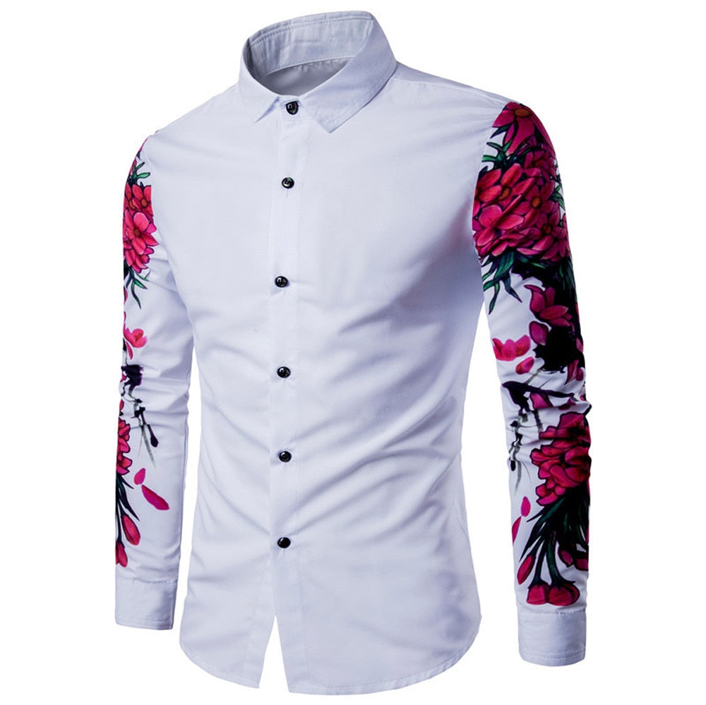 Mens Casual Long Sleeve Shirt Business Slim Fit Shirt Printed Blouse Top white shirts camiseta camisa social masculina gomlek-geekbuyig