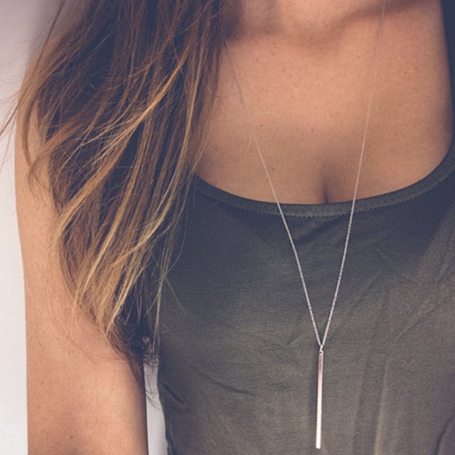 Classic Simple fashion Stick Pendant Necklace Hollow Girl Long Link Copper Chain Necklaces Long Strip Jewelry for women-geekbuyig