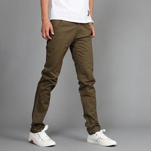 RUBU Hot sales Mew Design Casual Men pants Cotton Slim Pant Straight Trousers Fashion Business Solid Khaki Black Pants Men-geekbuyig
