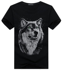 SWENEARO Men's clothing T-Shirt White T shirt Casual Cotton Wolf Printed Cartoon Short Sleeve Tee Shirt Men Brand Tee shirt 5XL-geekbuyig