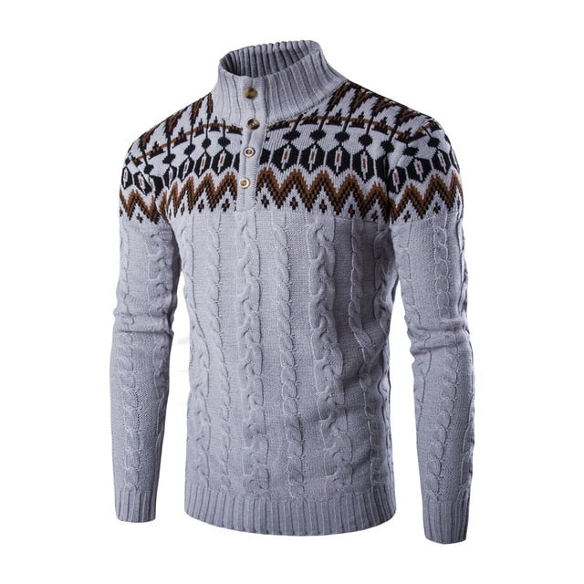 2018 New Fashion Brand Casual Long Sleeved Sweater Stand Collar Pullovers Slim Men's Ethnic Style Pattern Sweaters-geekbuyig