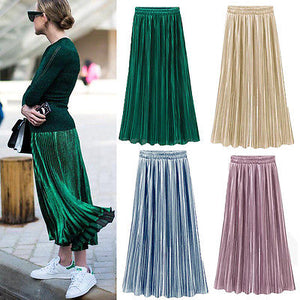 New Ladies Women Silky Long Maxi Skirts Pink Purple Green Silver Yellow Pleated Skirt One Size-geekbuyig