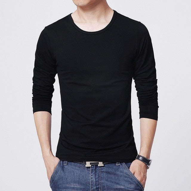 2018 MRMT men's T shirt 3 Basic colors Long Sleeve Slim T-shirt young men Pure color tee shirt 3XL size O neck Free Shipping-geekbuyig