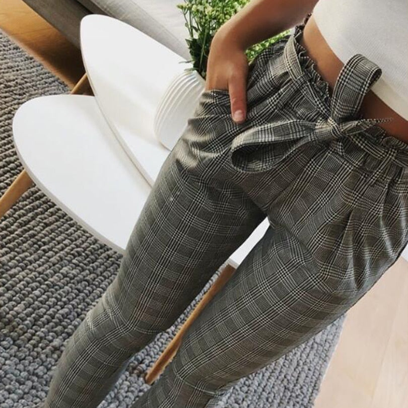 2018 Gray Plaid Pants Sweatpants Women Side Stripe Trousers Casual Cotton Comfortable Bottoms Pockets High waist trouser-geekbuyig