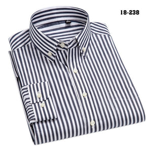 100% Cotton High-Grade Brand Men's Clothing Men Oxford Striped Social Shirts Leisure Style Men's Formal Business Shirts-geekbuyig