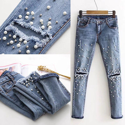 Women Fashion Destroyed Ripped pearled Slim Denim Pants Boyfriend Jeans Trousers Ladies Womens Daily Casual Jean Pant Clothing-geekbuyig