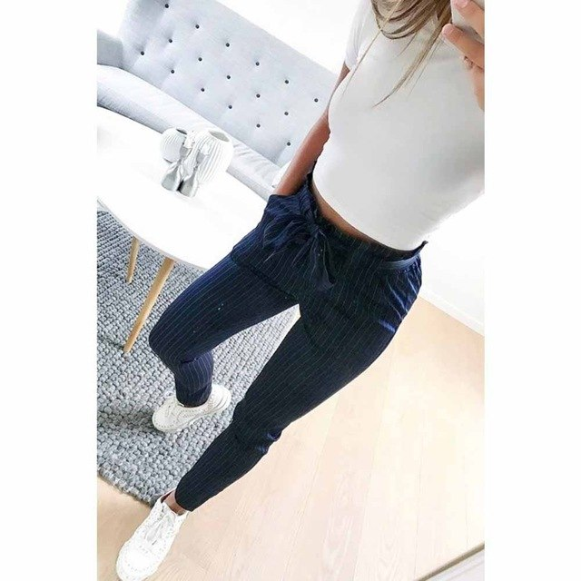 OL chiffon high waist harem pants Women stringyselvedge summer style casual bottoms female 2018 New Blue Striped trousers-geekbuyig
