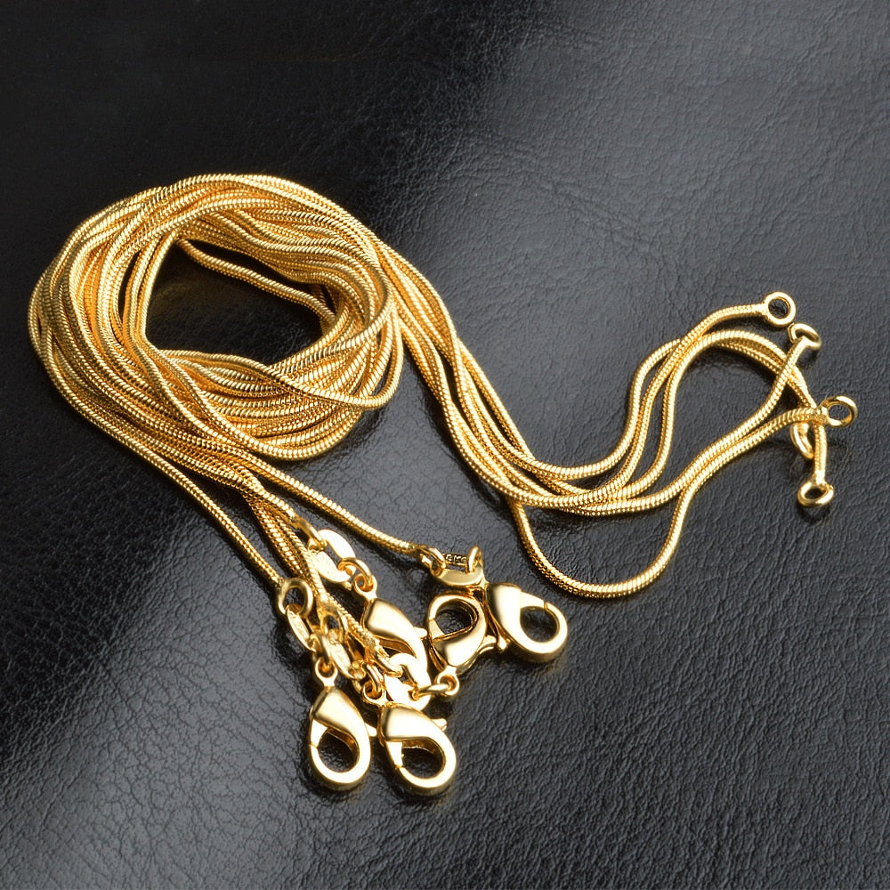"LJ&OMR New Jewelry 18KGP Gold Snake Chains 1MM 16 18 20 22 24 26 28 30"" Women Jewelry Accessories Gold Chain for Charm Pendants-geekbuyig"