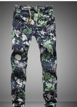In the summer of 2018 the new floral cotton and linen closed foot trousers fashion printing linen comfortable men's casual pants-geekbuyig