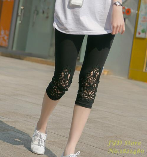 YGYEEG Hollow Out Lace Pants Summer New 2018 Plus Size Casual Capris For Women Slim Elastic Cotton Gray White Ladies Capris-geekbuyig