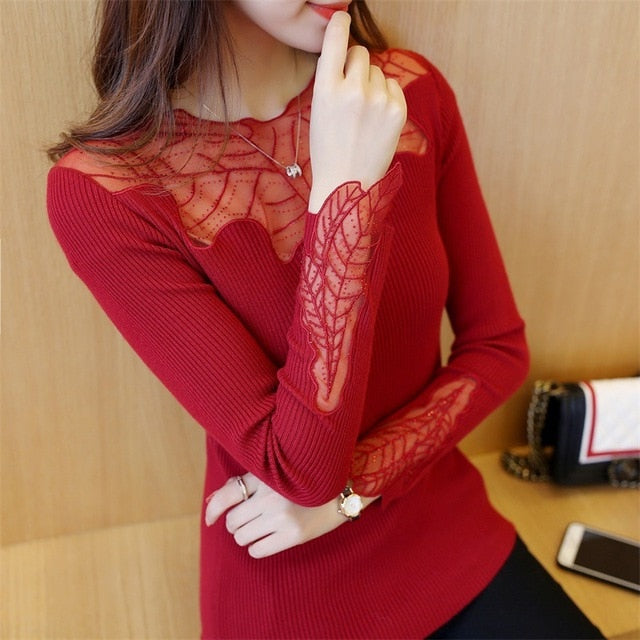 2018 New Arrival Red Women Elegant Long Sleeve Loose Cute Shirts Lace Blouse Plus Size Elasticity Spring Casual Tops Clothing-geekbuyig