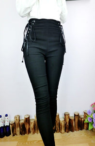 Fashion Black Women Pants Drawstring Side Lacing Up Bow Tie High Waist Long Slim Pant Femme-geekbuyig