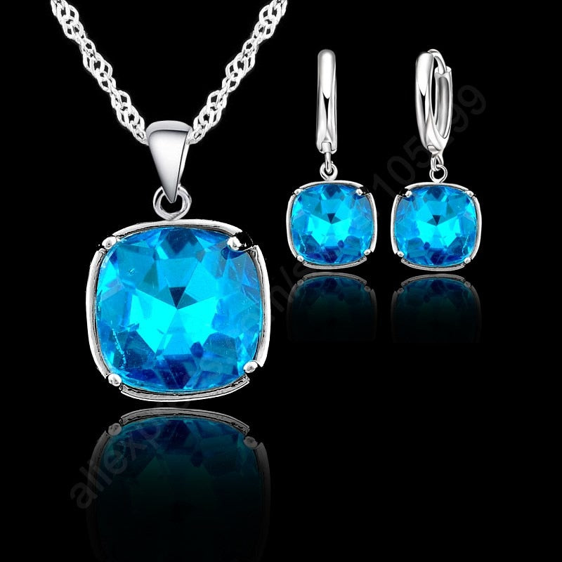 8 Colors!! Fashion 925 Sterling Silver With Square Faced AAA Crystal Design Wedding Engagement Earring Necklace Jewelry Set-geekbuyig