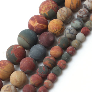 Dull Polish Matte Natrual Picasso Jasper Stone Round Beads For Jewelry Making Bracelet Necklace 4/6/8/10mm 15inches-geekbuyig