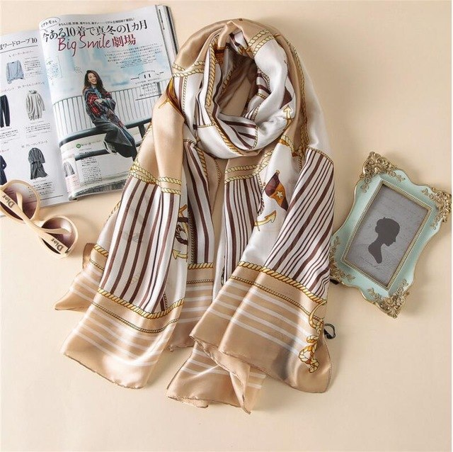 Luxury Brand Silk Scarf Women Navy stripes Digital Print Female Soft Foulard Designer Silk Plaid Wrap Shawl Scarves-geekbuyig